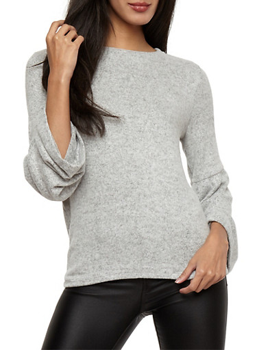 Bell Sleeve Sweater,HEATHER,large