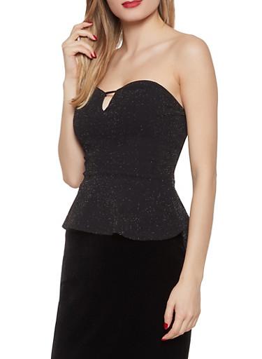 Shimmer Knit Peplum Top,BLACK,large