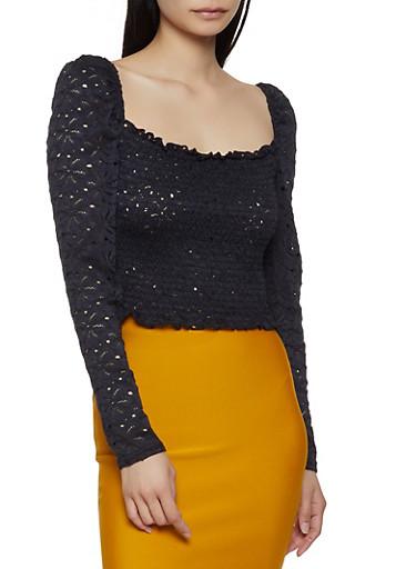 Smocked Crochet Square Neck Top,BLACK,large