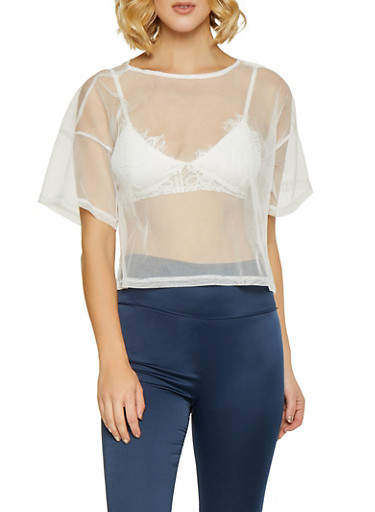 Tulle Crop Top,WHITE,large