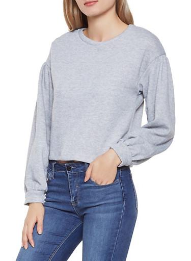 Cropped Bubble Sleeve Sweatshirt,HEATHER,large