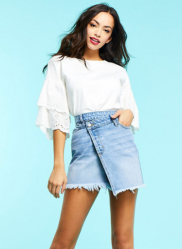 Tiered Eyelet Sleeve Top,WHITE,large