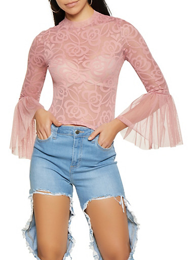 Printed Mesh Bell Sleeve Top,MAUVE,large