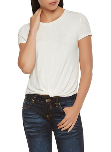 Twist Front Ribbed Knit Tee,WHITE,large