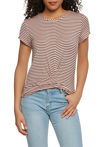 Striped Twist Front Tee,MAUVE,large