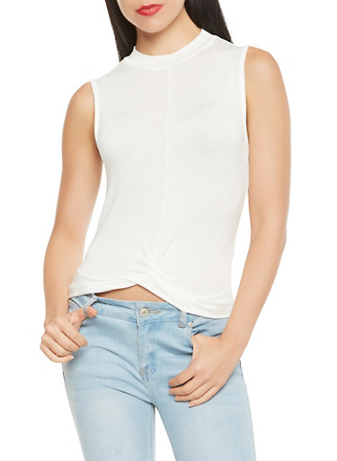 Sleeveless Twist Front Top,WHITE,large
