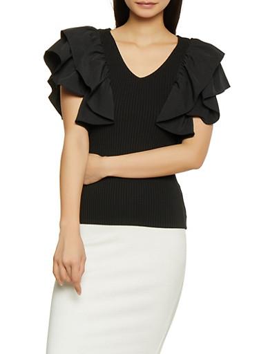 Ruffle Sleeve Rib Knit Top,BLACK,large
