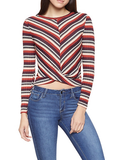 Striped Rib Knit Top,WINE,large