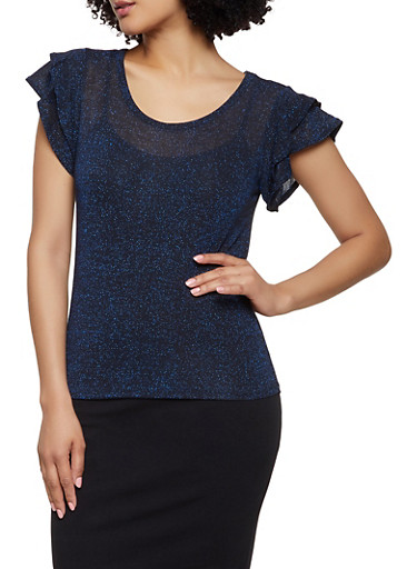 Tiered Sleeve Shimmer Knit Top,NAVY,large
