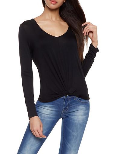 Twist Front Top,BLACK,large