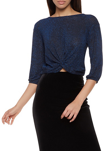 Tie Back Shimmer Knit Top,NAVY,large