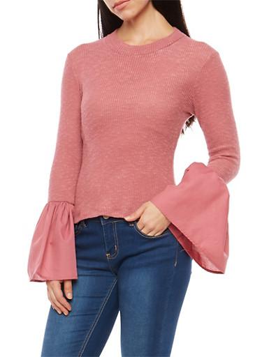Rib Knit Bell Sleeve Sweater,MAUVE,large