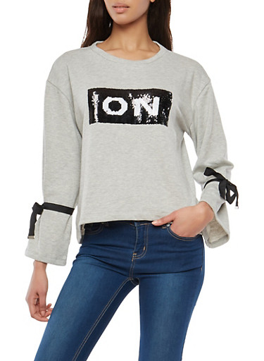 On Off Reversible Sequined Sweatshirt,HEATHER,large