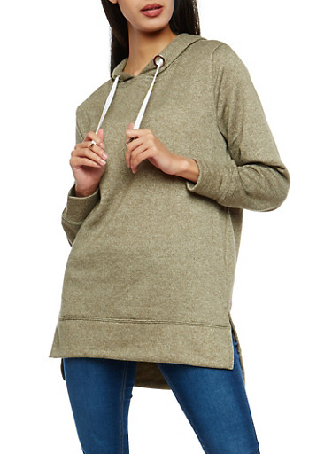 High Low Hooded Sweatshirt,OLIVE WHITE,large