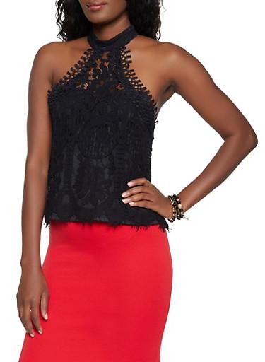 Crochet High Neck Top,BLACK,large