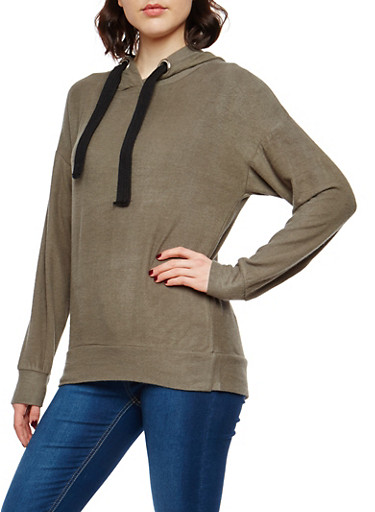 Fleece Hooded Sweatshirt,OLIVE,large
