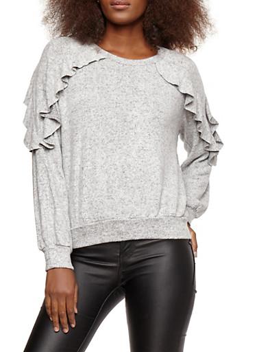 Ruffled Soft Knit Sweater,HEATHER,large