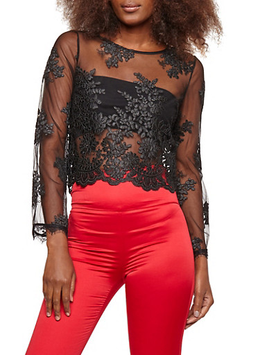 Mesh Embroidered Zip Back Top,BLACK,large