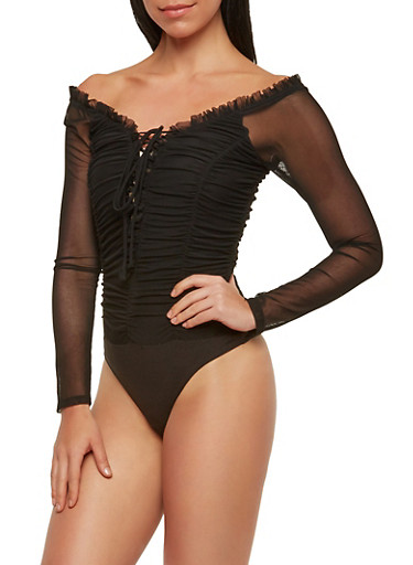 Ruched Mesh Thong Bodysuit,BLACK,large