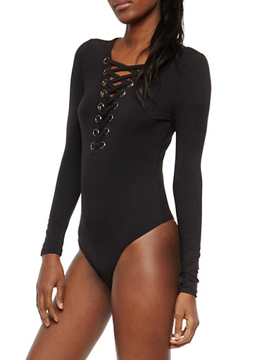 Soft Knit Lace Up Bodysuit,BLACK,large