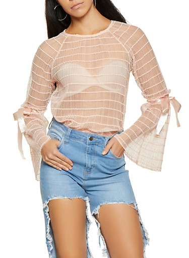 Pleated Mesh Bell Sleeve Top,BLUSH,large