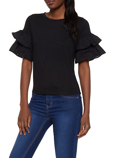 Tiered Sleeve Top | 1402069399653,BLACK,large