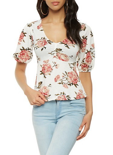 Floral Bubble Sleeve Top,WHITE,large