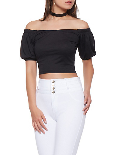 Off the Shoulder Bubble Sleeve Crop Top,BLACK,large