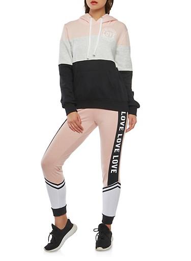 Love Graphic Color Block Sweatshirt,BLACK,large
