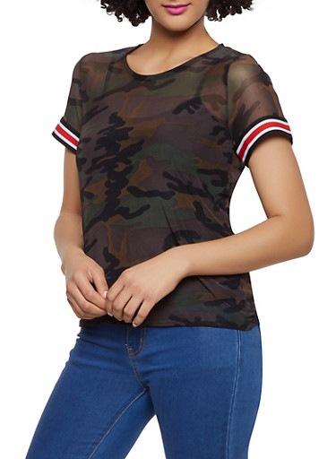 Tape Trim Camo Mesh Tee,OLIVE,large