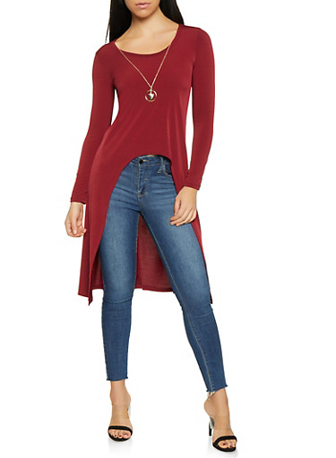 High Low Top with Necklace,WINE,large