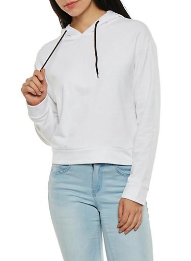 Long Sleeve Hooded Sweatshirt,WHITE,large