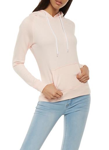 Fleece Lined Pullover Sweatshirt,PINK,large