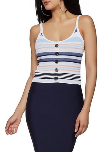 Faux Button Striped Rib Knit Tank Top,WHITE,large