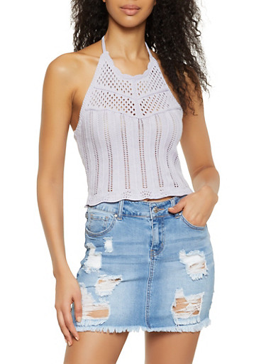 Cropped Pointelle Halter Top