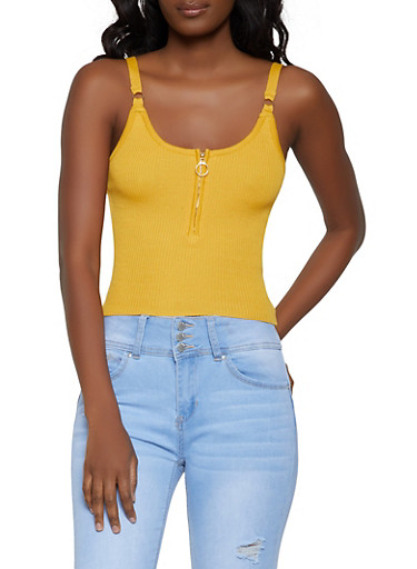 Ribbed Zip Front Cami by Rainbow