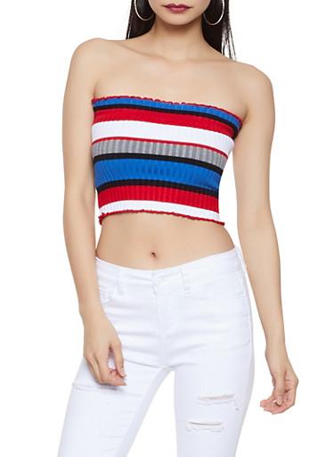 Striped Rib Knit Tube Top,MULTI COLOR,large