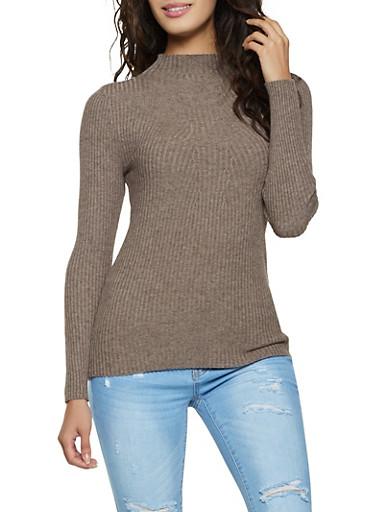 Ribbed Long Sleeve Sweater,MOCHA,large