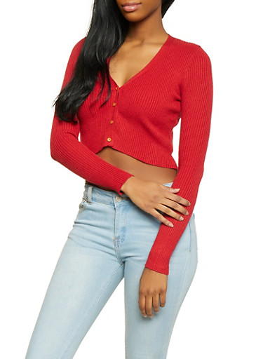 Cropped Rib Knit Cardigan,RED,large