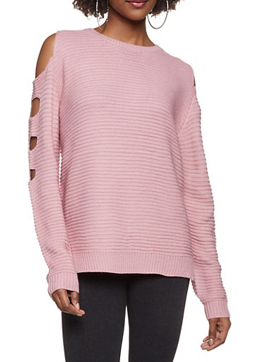 Cut Out Sleeve Sweater,MAUVE,large