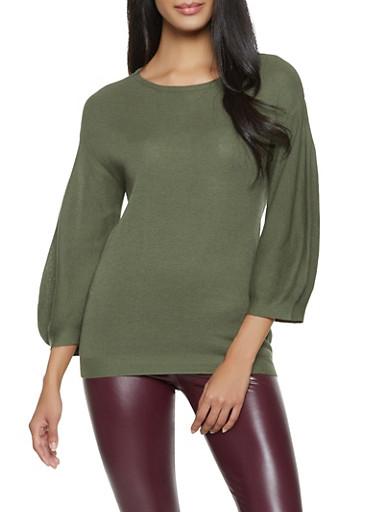 Bubble Sleeve Sweater,OLIVE,large