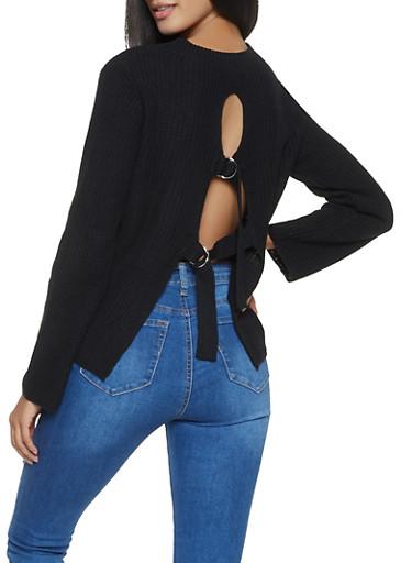 Strap Back Sweater,BLACK,large