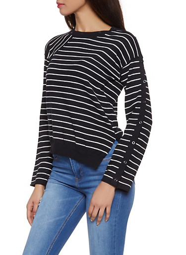 Button Detail Striped Sweater,BLACK,large