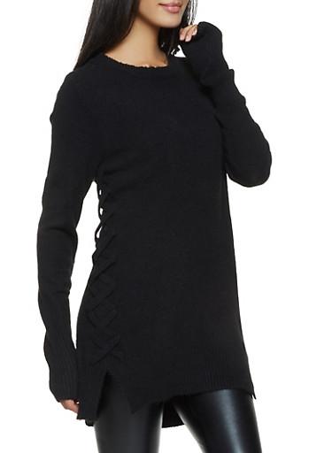 Lace Up Side Tunic Sweater,BLACK,large