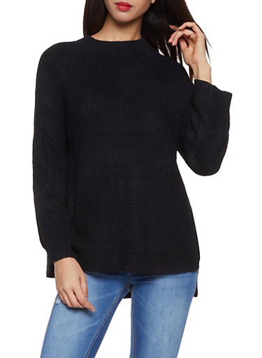 Mock Neck Sweater,BLACK,large