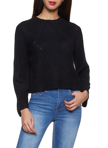 Crew Neck Sweater,BLACK,large