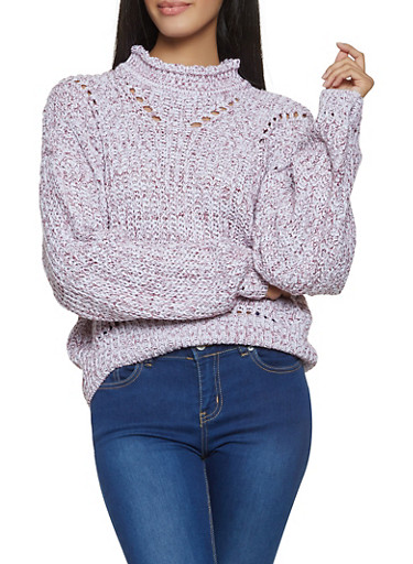 Two Tone Mock Neck Sweater,WHITE,large