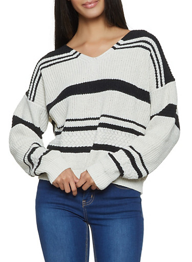 Lace Up Back Striped Sweater,WHT-BLK,large