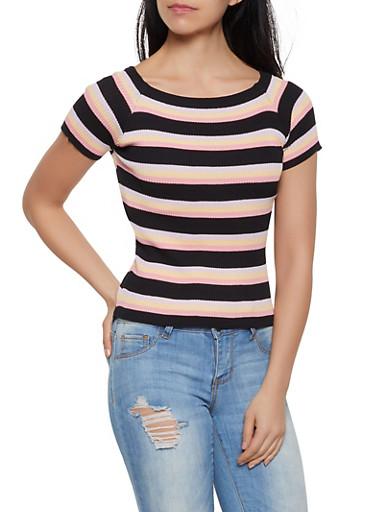 Off the Shoulder Striped Short Sleeve Sweater,BLACK,large