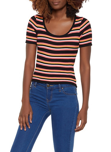 Striped Short Sleeve Sweater,BLACK,large
